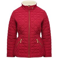Ladies petite long sleeve quilted funnel neck borg lined zip front pocket jacket  - Burgundy
