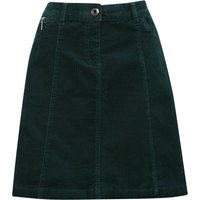 Ladies Petite size plain cotton stretch structured A line casual cord skirt  - Forest Green