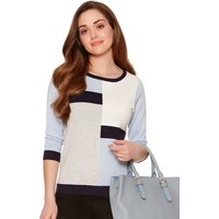 Women's Ladies petite size ribbed knit slim fit three quarter length sleeve colour block jumper