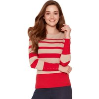 Ladies petite long sleeve slim fit round neck button cuff detail stripe jumper  - Oatmeal