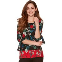 Womens Ladies Petite size Three quarter length sleeve tie cuff crew neck floral border print top