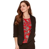 Women's Ladies petite size tabbed three quarter length sleeve open edge to edge crepe jacket