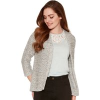 Women's Ladies Petite size woven stitch knit Cropped sleeve open edge to edge cardigan