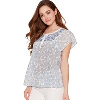 Ladies petite short sleeve scoop neck tie front flowing embroidered peasant top  - Pale Blue