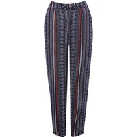 Women's Ladies petite full length tapered jogger style elasticated waist tribal print trousers