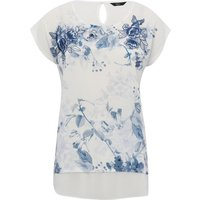 Ladies petite short sleeve scoop neck cotton blend sheer chiffon trim floral print t-shirt  - White