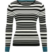 Ladies petite long sleeve scooped neck monochrome stripe pull on jumper  - Black and White