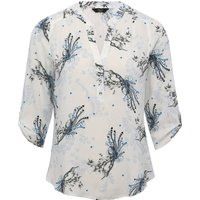 Ladies petite tabbed three quarter length sleeve floral bird print notch neck shirt  - Ivory