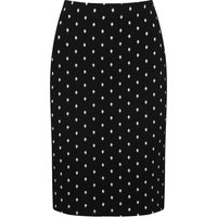 Ladies petite knee length high elasticated waist polka dot print pencil skirt  - Black and Ivory