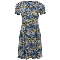 Ladies Petite Short Button Trim Sleeve Floral Butterfly Print Stretch Jersey Scoop Neck Swing Dress - Blue