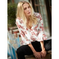 Ladies petite floral print blouse with three quarter length sleeves  - Ivory