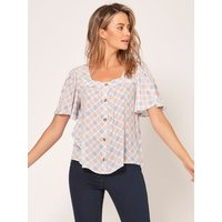 Petite blouse with square neck and and floaty sleeves  - Ivory