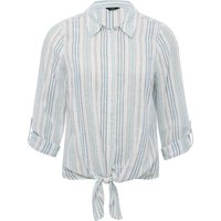 Ladies petite blue stripe tie front shirt with three quarter sleeve classic collarr button front  - Blue