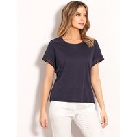 Ladies petite plain crochet trim t-shirt with short sleeve crew neck cotton blend  - Navy