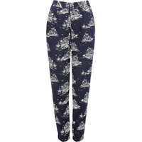 Womens Petite ladies scenic print trousers tapered navy joggers