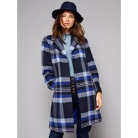 Womens Ladies petite blue check coat long sleeve single breasted side pockets tailored fit