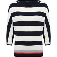 Womens Ladies petite stripe jumper three quarter length batwing sleeves scoop neck