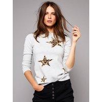 Womens Ladies petite leopard print star knit jumper long sleeve crew neck