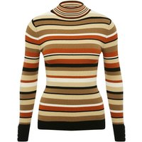 Ladies petite size stripe roll neck jumper with long sleeves  - Natural