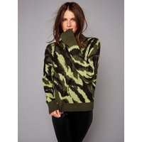 Ladies petite long sleeve camouflage knit jumper  - Green Camo