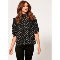 Womens Ladies petite ditsy floral print frill top