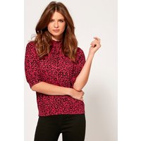 Ladies petite pink leopard print top in jersey with high neck half cuffed sleeves bubble hem  - Black