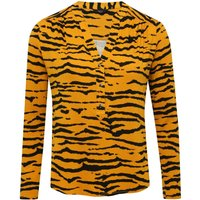 'Women's Ladies Petite Tiger Print Jersey Shirt With Long Sleeve Notch Neck Slim Fit