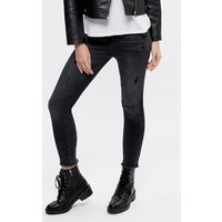 Ladies skinny distressed jeans mid rise five pocket styling frayed hem  - Black
