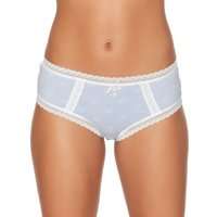 Click to view product details and reviews for Ladies Pure Cotton Stretch Floral Spot Print Button Lace Trim Everyday Boxer Briefs Cornflower Blue.