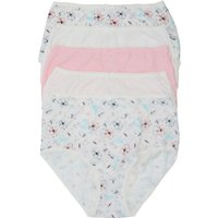 Ladies cotton stretch plain and floral print full briefs - five pack  - Pink
