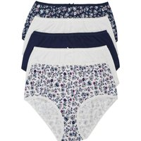 Ladies pure cotton ditsy floral print and plain full briefs five pack  - Petrol Blue
