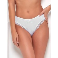 Ladies plain stretch high leg full rear coverage sheer lace trim microfibre briefs - two pack  - Whi