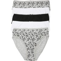 Ladies cotton stretch elasticated plain and floral print high leg briefs - five pack  - Grey Marl