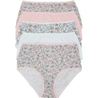 Ladies plain floral mix print full briefs pure cotton high waisr low leg line five pack  - Pink