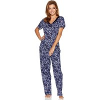 Ladies Pure Cotton Navy Leopard Animal Print Short Sleeve V Neck Top And Cropped Trousers Pyjama Set