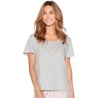 Ladies cotton jersey short sleeve scoop neck lace heart print mix and match pyjama top  - Grey