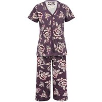 Ladies cotton jersey short sleeve floral rose print cropped length pyjama set  - Heather