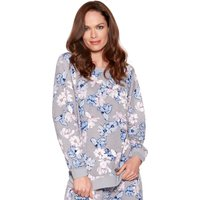 Ladies long sleeve ribbed cuffs crew neck floral print loungewear sweater pyjama top  - Grey
