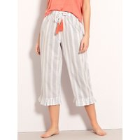 Women's Ladies stripe cropped pyjama bottoms cotton elasticated waist mix and match