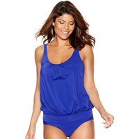 Women's Ladies swimwear slimming scoop neck thick strap plain bubble hem blouson tankini top