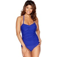 Ladies swimwear plain ruched twist front multiway slimming support tummy control panel swimsuit  - R