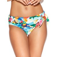 Women's Ladies swimwear high leg bright floral print roll top two piece tie bikini bottoms