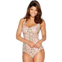 Women's Ladies swimwear slim fit ruched Front thick supportive straps floral paisley print tankini t