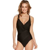 Women's Ladies swimwear plain black slimming tummy control thick strap V neck ruched wrap one piece