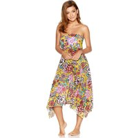 Women's Ladies bright floral print two in one beach skirt dress