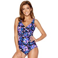 Women's Ladies swimwear purple floral print v neck flattering slimming tummy control thick strap swi