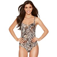 Women's Naturana ladies non wired lightly padded animal print slimming tummy control swimsuit