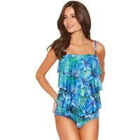 Women's Ladies swimwear floral palm print adjustable multiway straps frill front tankini top