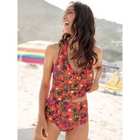 Women's Ladies tropical floral print tankini top halterneck removable padded cups v neck