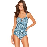 Womens Ladies blue tile print swimsuit ruched front tummy control adjustable multiway straps
